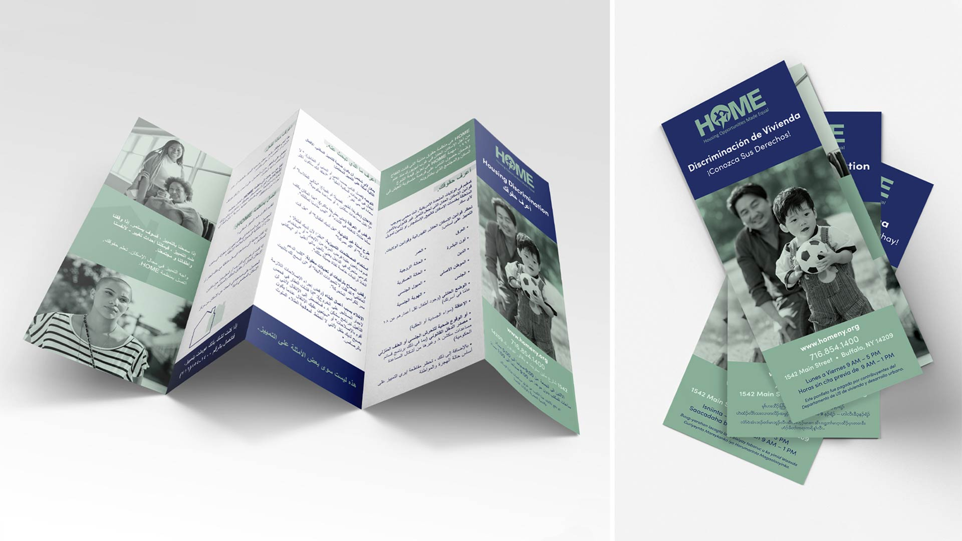 A set of brochures designed by OtherWisz Creative for a non-profit, with versions in Arabic and Spanish