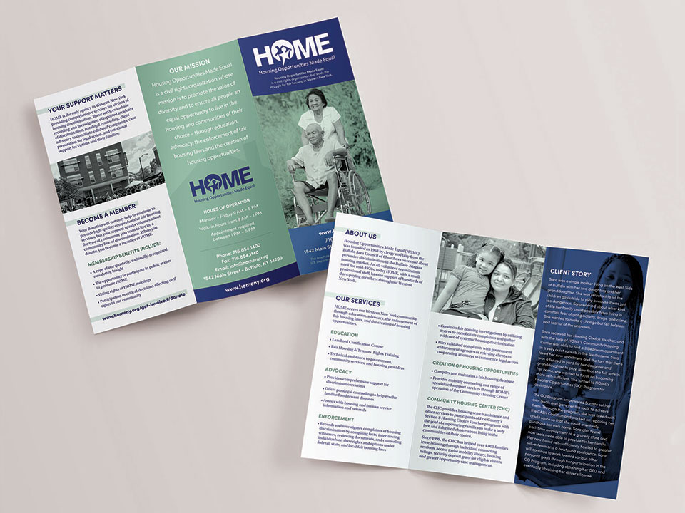 The Main Services printed trifold brochure designed by OtherWisz Creative for non-profit HOME