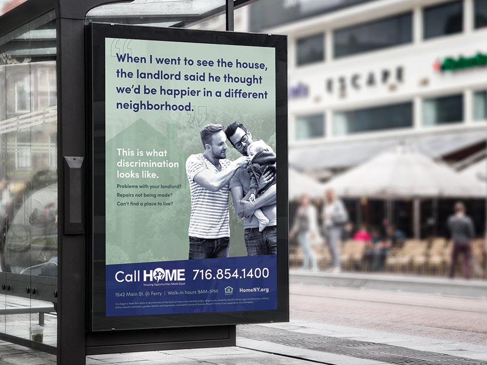 Outdoor bus advertisements at bus stops for the HOME campaign
