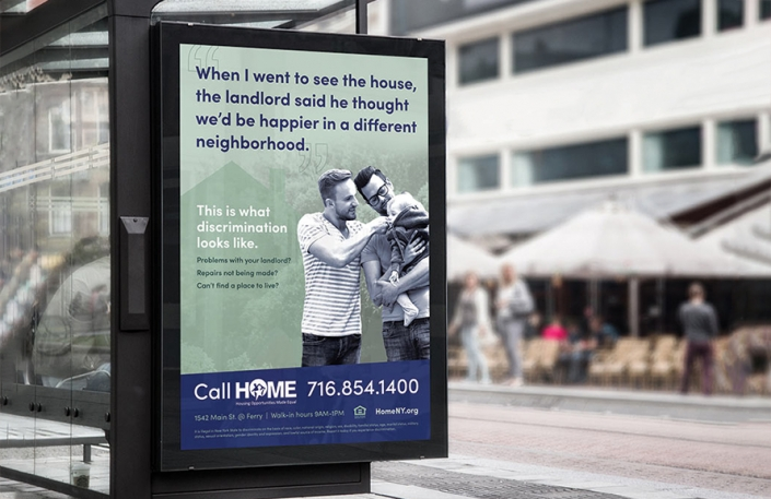 Homepage thumbnail for the HOME project page, showing the outdoor bus ads