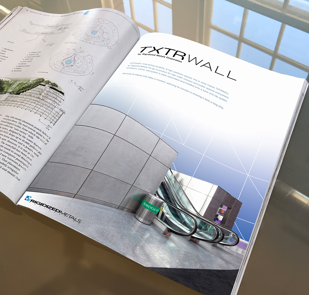 TXTRWall Interior Panels by Rigidized Metals Corporation ad mockup, Brand Development, naming strategy, logo design