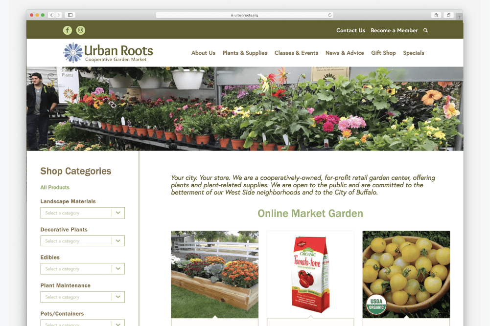 Ecommerce upgrade for Urban Roots cooperative garden market enhances their website for customers looking to start their gardens.