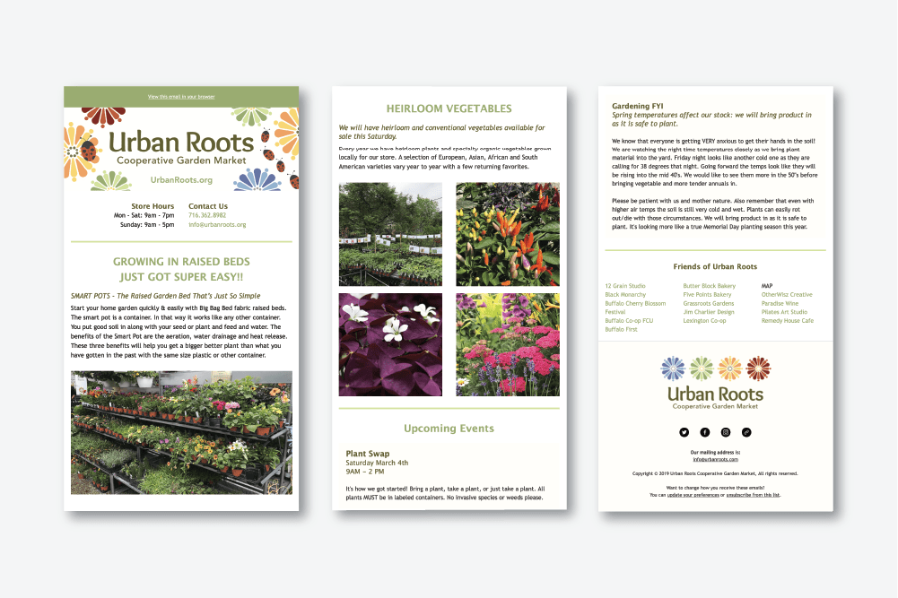 email newsletter for buffalo, ny gardening cooperative market