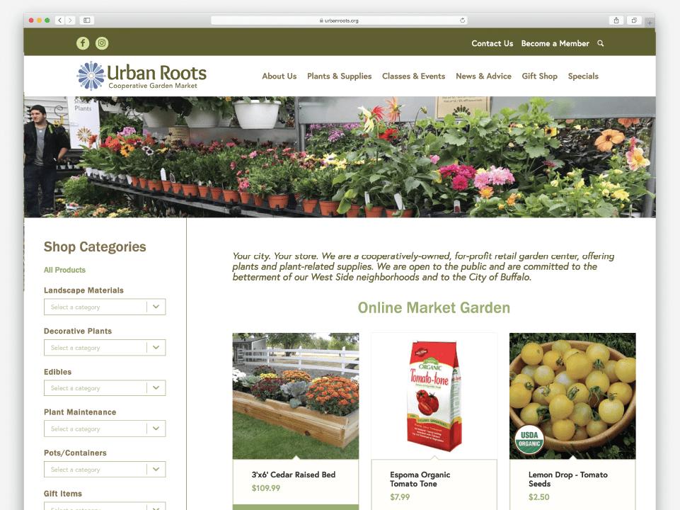 Urban Roots Ecommerce website, online garden shop, ecommerce website design