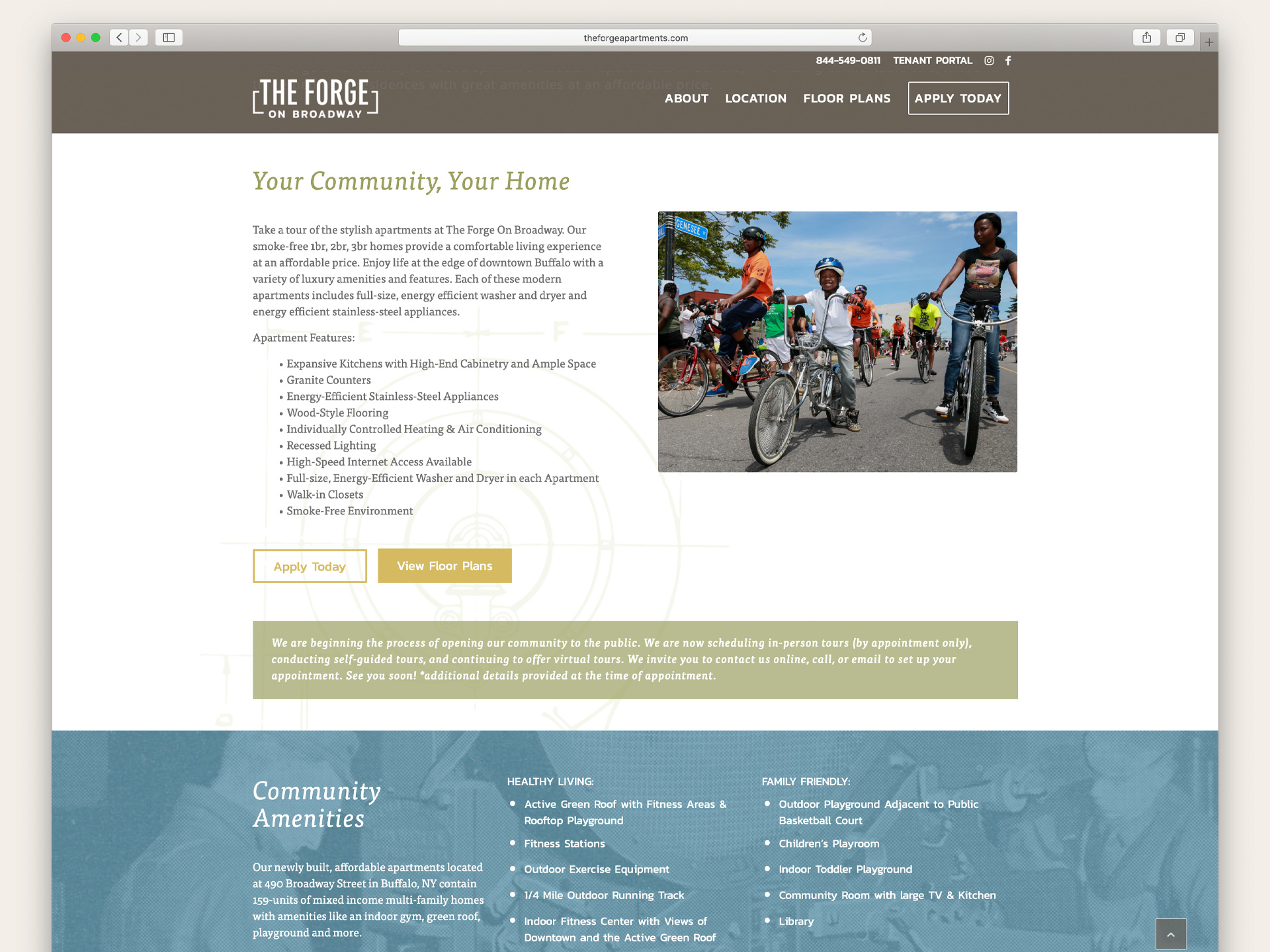 The Forge on Broadway website designed by OtherWisz Creative provides regional details about Buffalo and insight on life at the apartments