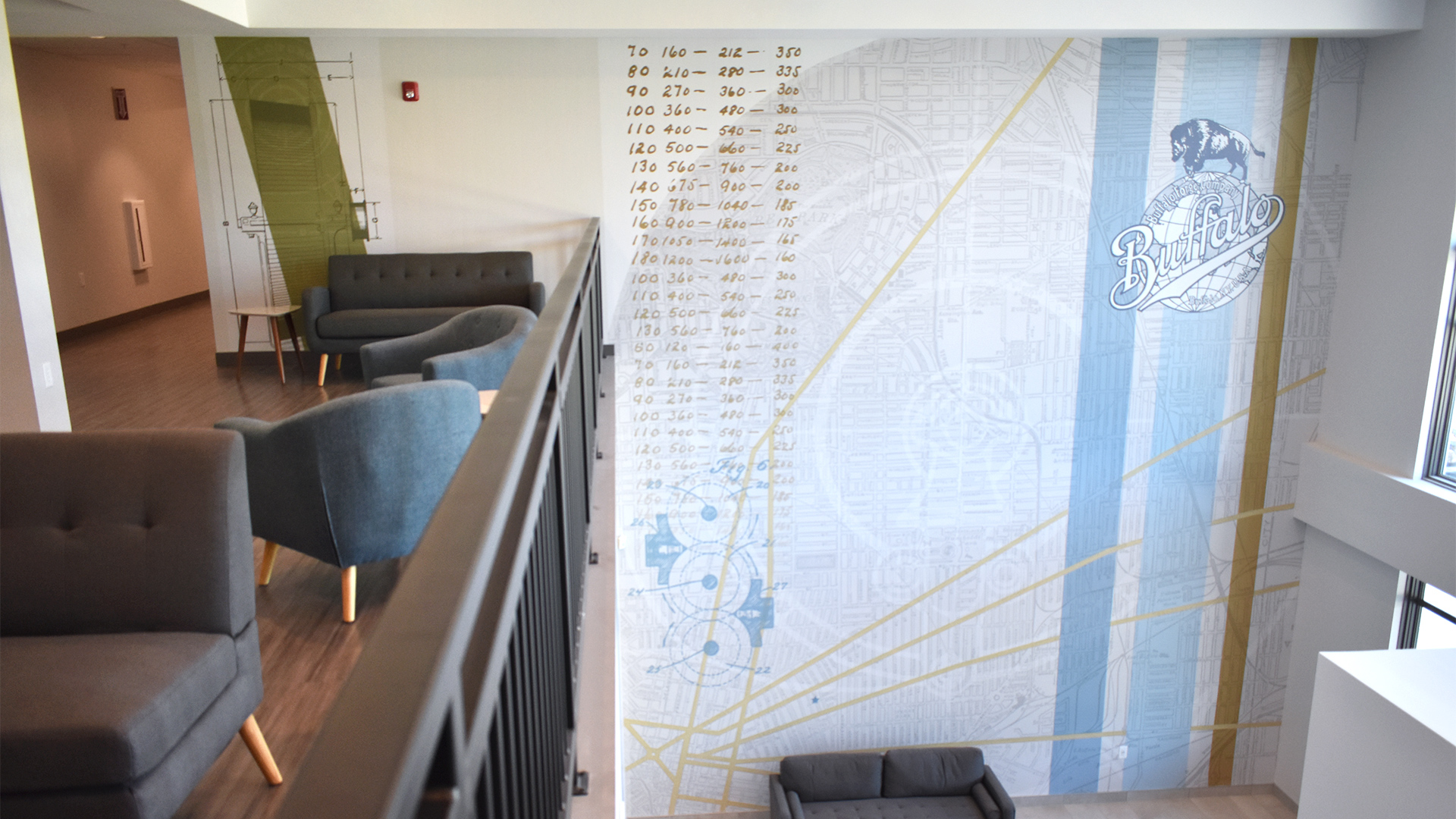 The large-scale main feature wall mural at The Forge on Broadway, designed by OtherWisz, showcases vintage Buffalo Forge graphics and a detailed map of Buffalo