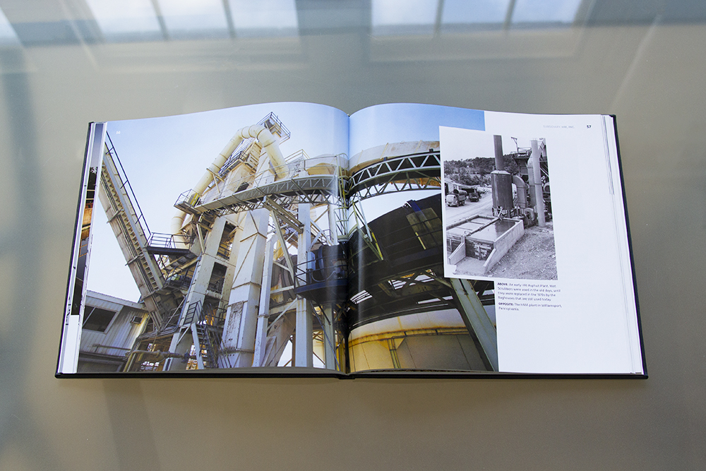 The design of this spread is purely image focused with a caption nestled in the cluster of images, comparing the plant's evolution over time.