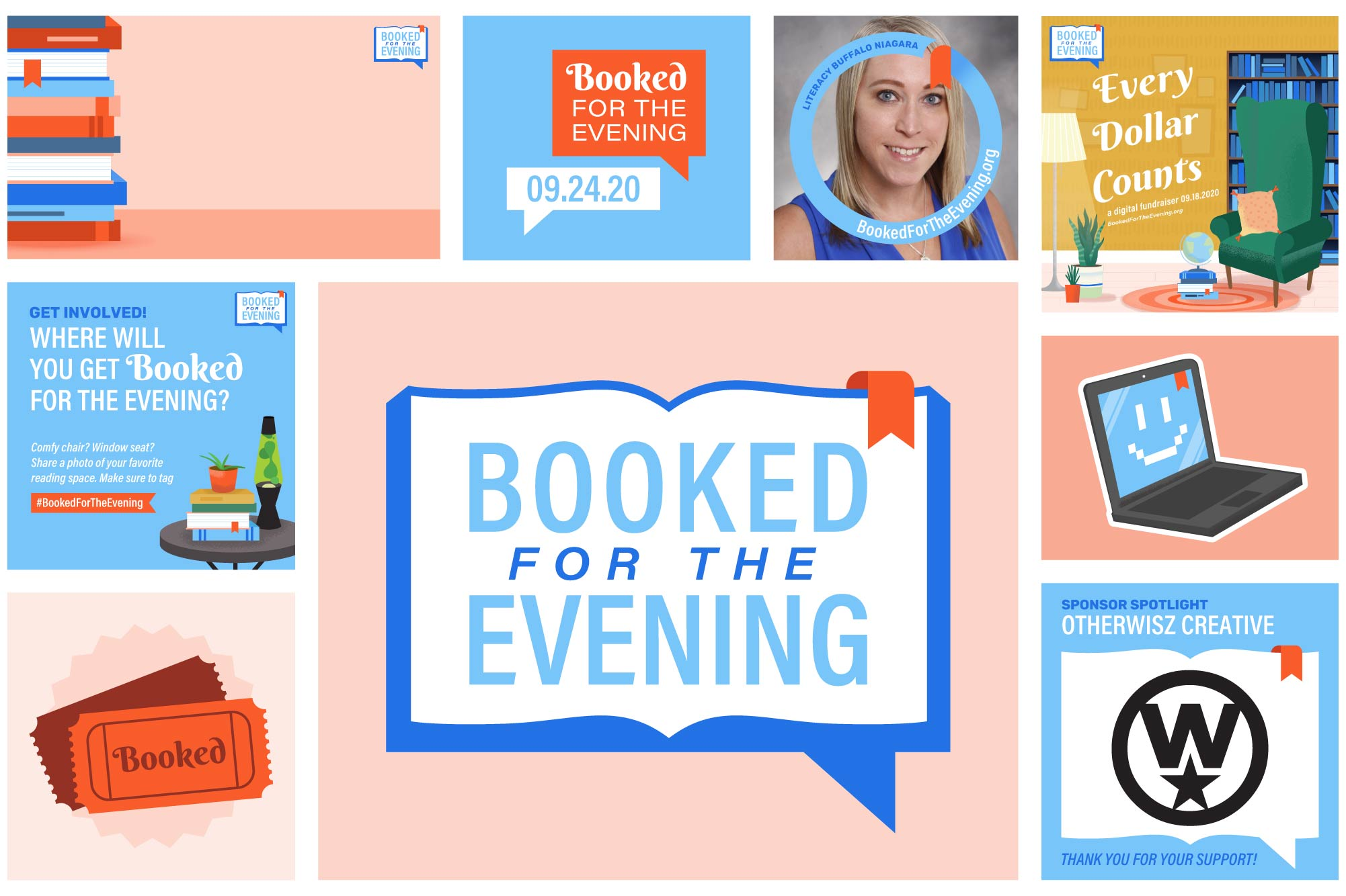 OtherWisz designed an extensive package of digital assets for Booked, including profile frames, Zoom backgrounds, sponsor graphics, and GIF stickers.
