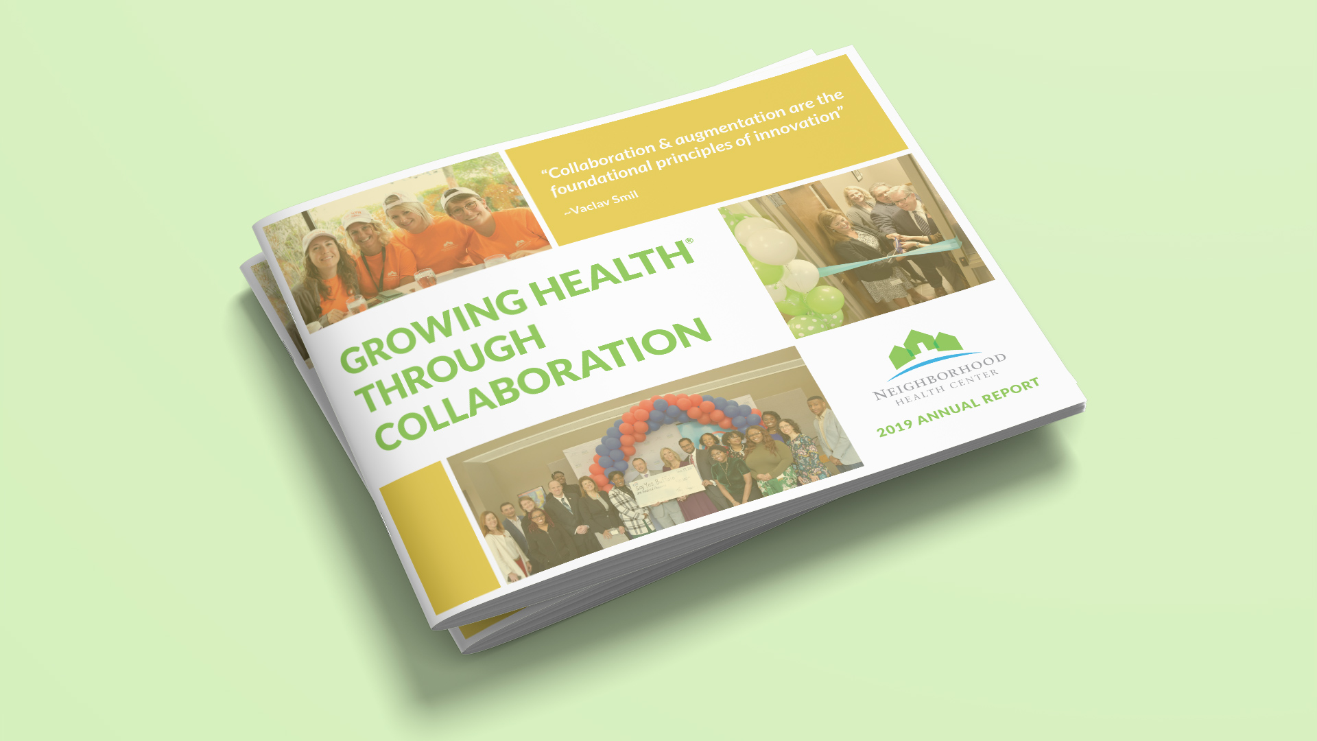 The cover of the NHC annual report took into consideration how to convey the theme of collaboration. OtherWisz's design of the report and layout is consistent, providing a smooth reading experience