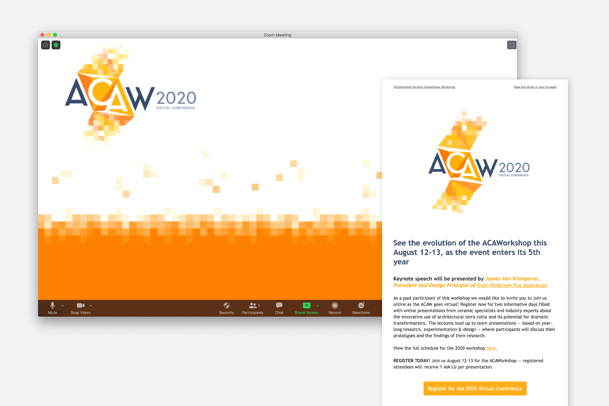 OtherWisz designed a full package of assets for the ACAW 2020 virtual event, including email marketing and custom Zoom backgrounds