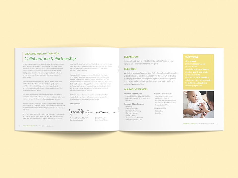 Otherwisz needed to convey the brand message of collaboration through the design of the nhc annual report