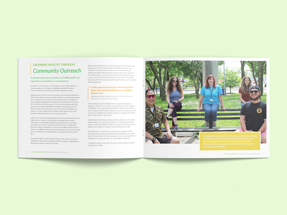 the design of the nhc annual report has highlighted sections that share the organization's work in the community of Buffalo, NY