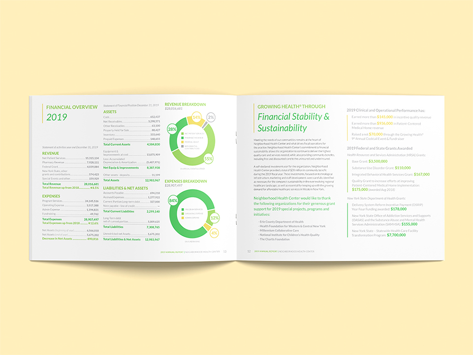 the annual report for NHC features statistics in the form of information graphics, illustrating the company's financial overview