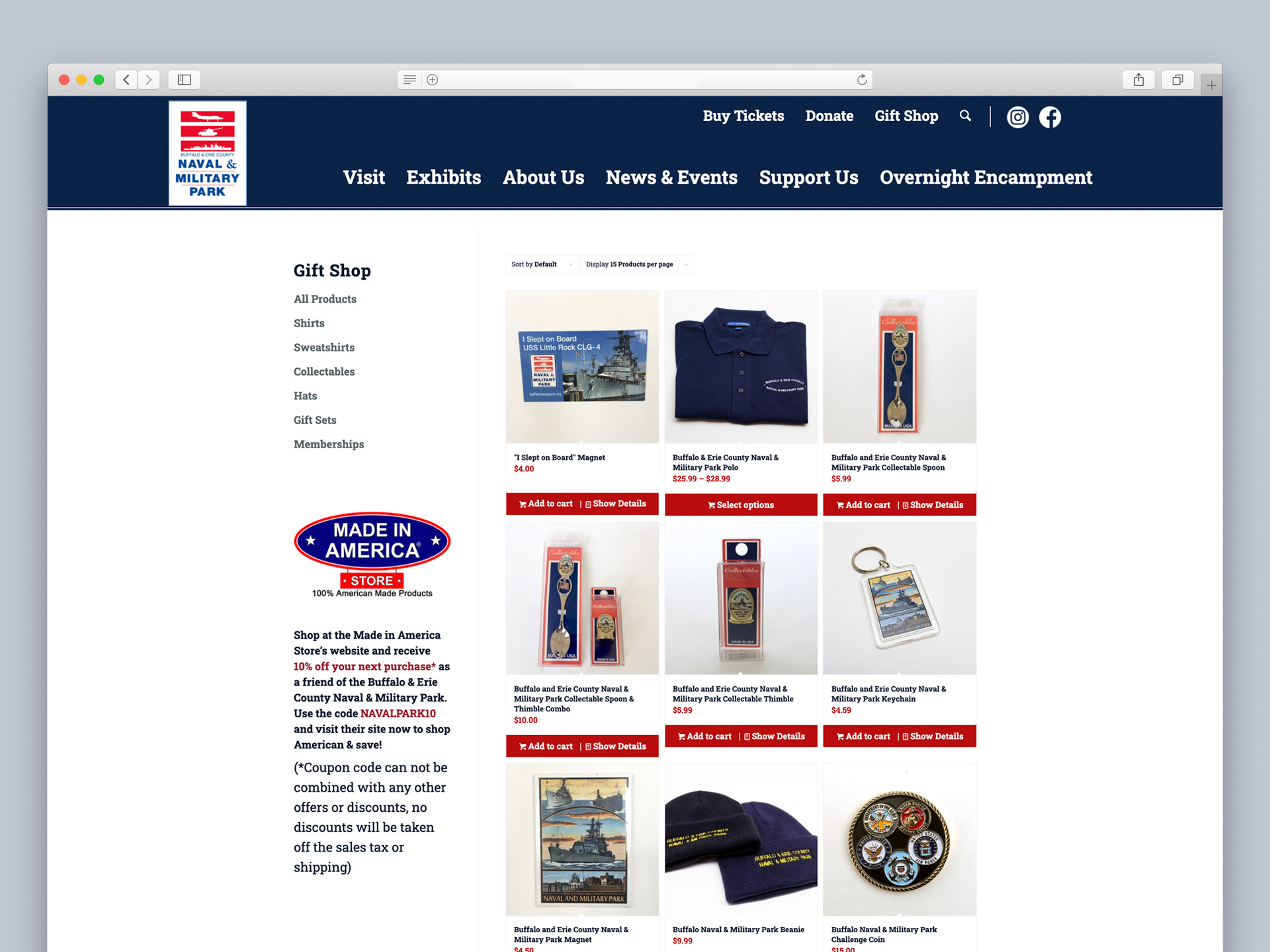 OtherWisz upgraded the Ecommerce store on the Naval Park website, allowing visitors to purchase gifts and memorabilia remotely
