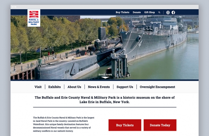 The Buffalo Naval & Military Park website homepage after receiving a web design upgrade and other enhancements from OtherWisz