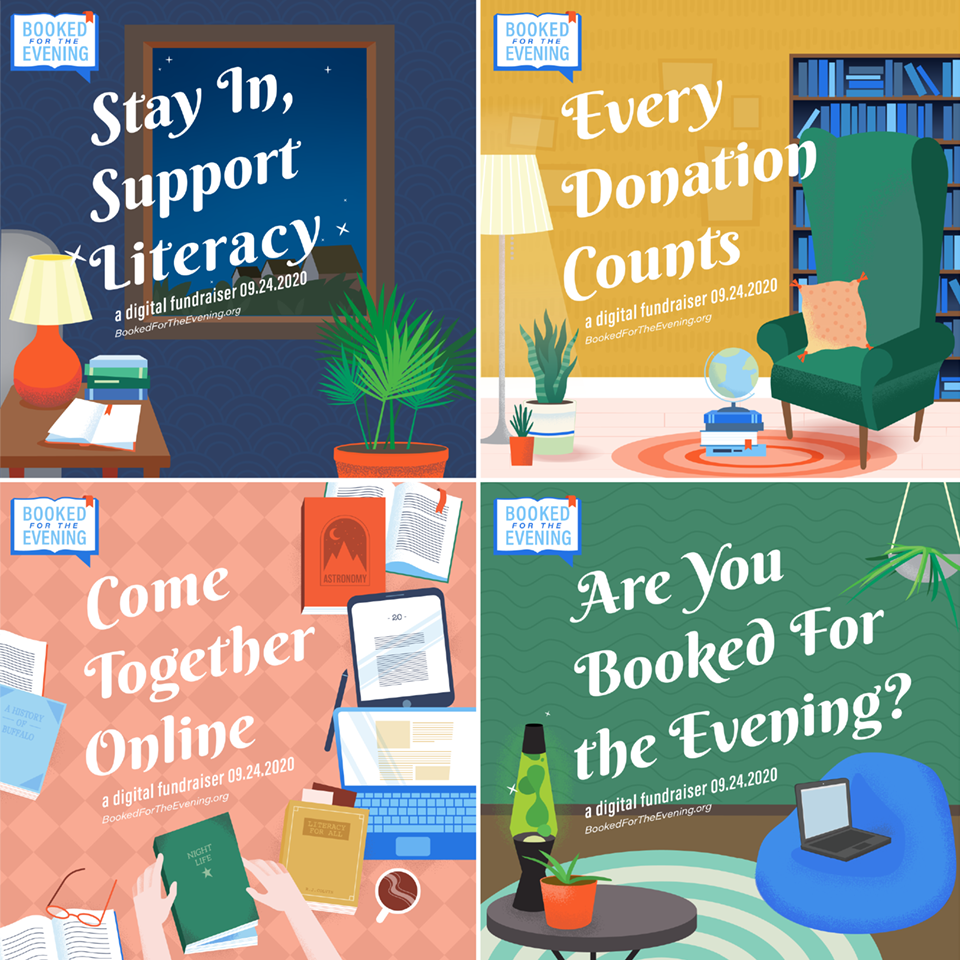 Four digital posters, illustrated by OtherWisz Creative Designers. Each poster features a different message and interior scene, which imagines where the viewer might book themselves for the evening.