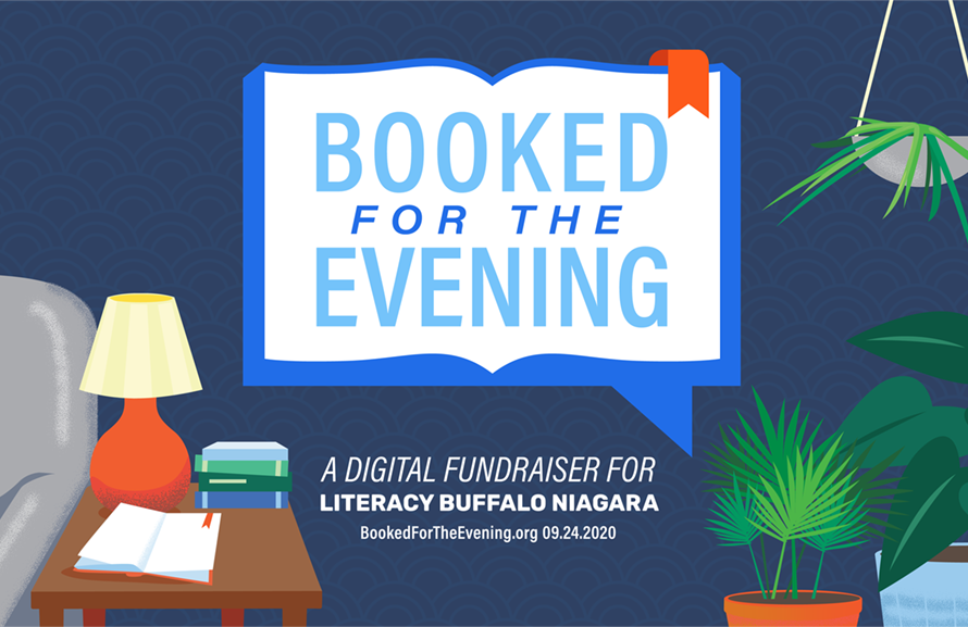 A promotional advertisement for Literacy Buffalo Niagara's fundraiser, Booked for the Evening. The illustrated image features the logo, which is an open book, in a living room, surrounded by plants.