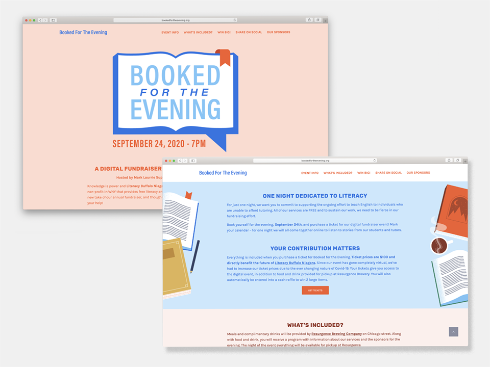 Two open windows of the Booked for the Evening website, including all important images, which is supported by colorful illustrations