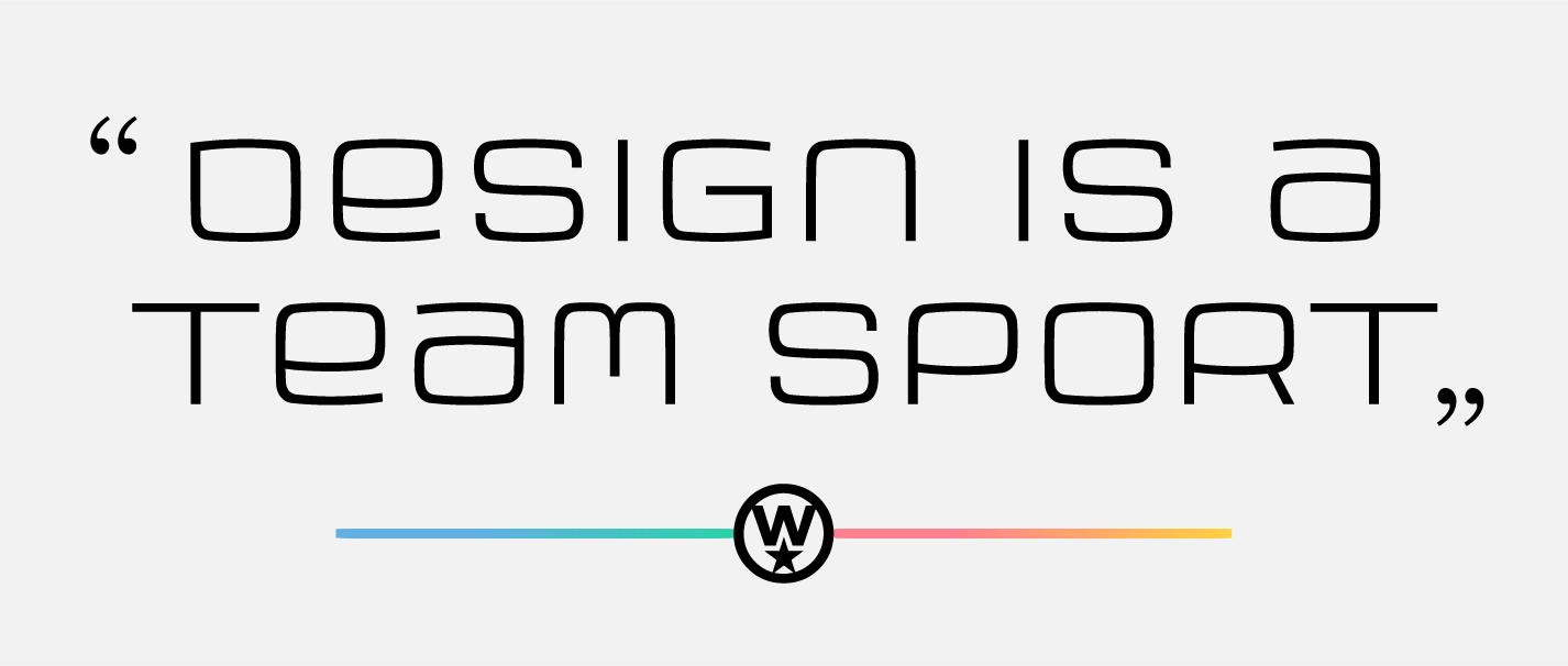 design is a team sport, quote by jill wisz set in armchair modern OT