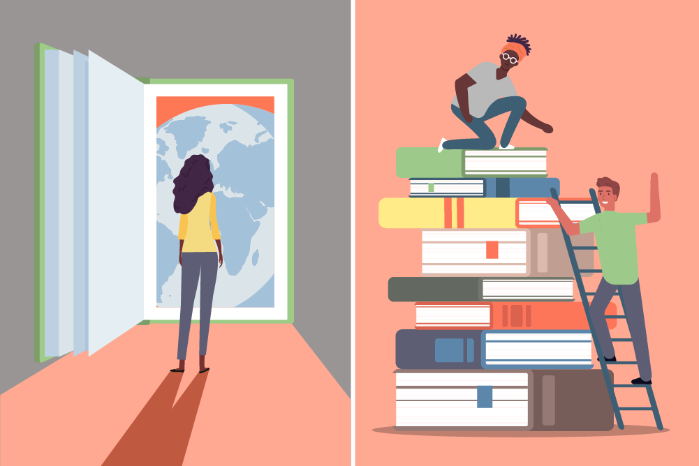 Colorful illustrations depict the struggle of acquiring functional literacy skills. The images spark the imagination of the viewer, showing that they can be lifted up by learning to read, and that literacy is an open door.
