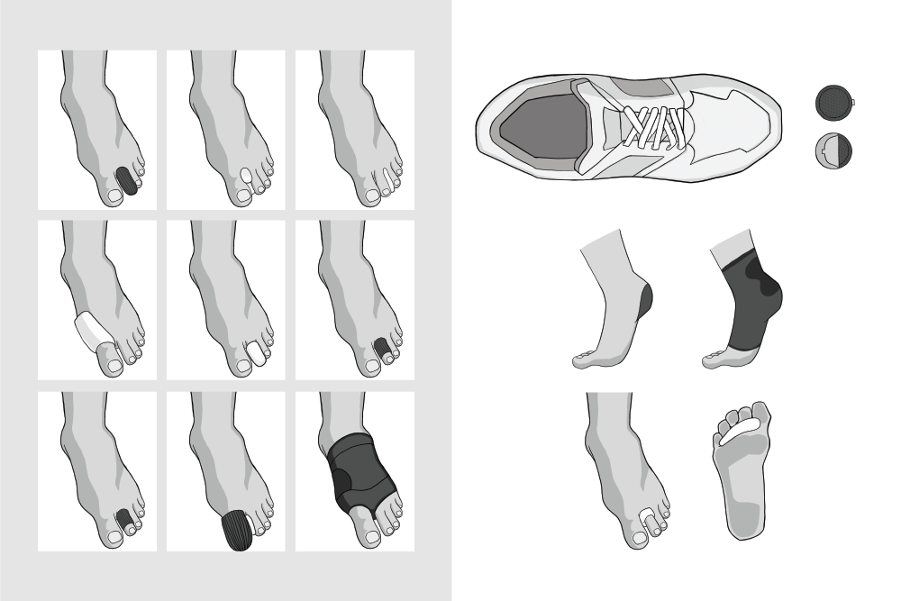 Medical product illustrations depicted in greyscale for easy application. The image shows several different product types with three diferent base illustrations.