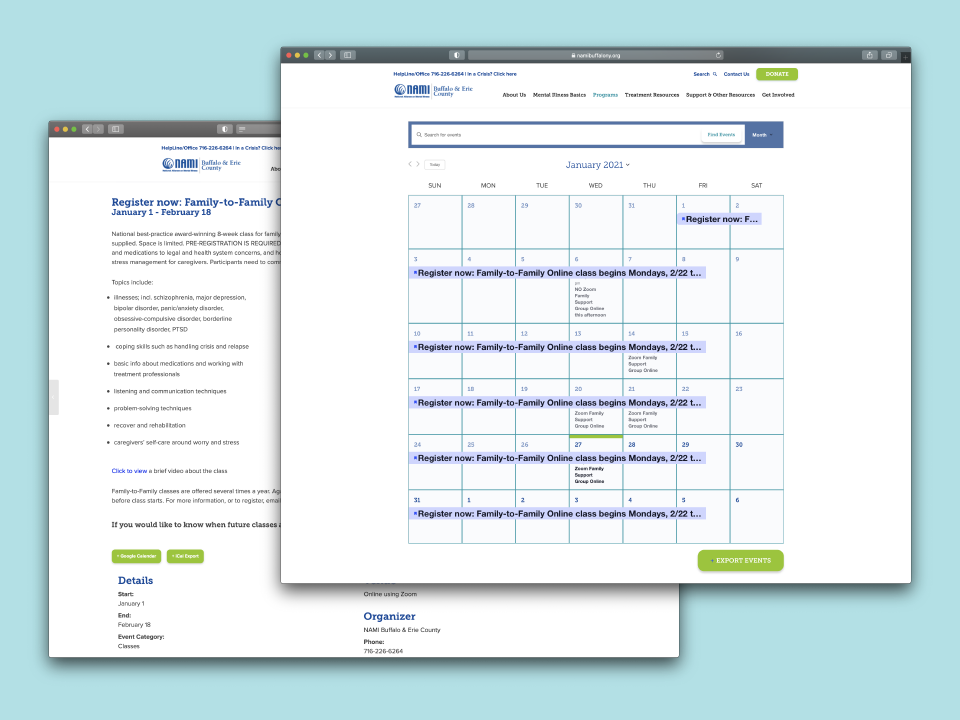 The NAMI website design included a training session to teach the client how to update their custom CMS website on their own. The training session comes with an informative training manual for reference.