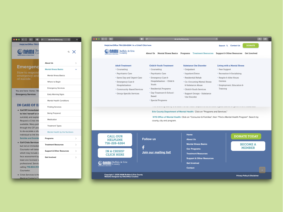 The NAMI website design is a robust online resource with many pages. The sitemap phase determined the organized layout of the pages. The website uses a megamenu within the navigation to direct users to their destination.