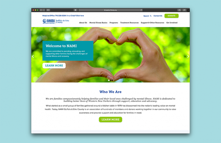 NAMI custom CMS website design enhances the communication between the organization and their clients