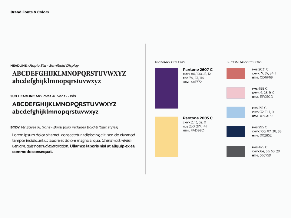 The senior housing logo came with a brand guide, which shows the acceptable use of the brand with fonts and colors