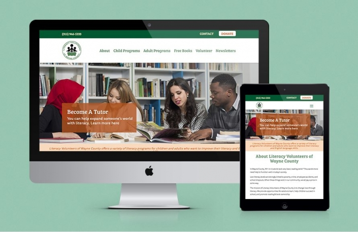 The thumbnail image shows the Literacy Volunteers of Wayne County Website Design on a desktop and ipad, highlighting its responsive funtionality