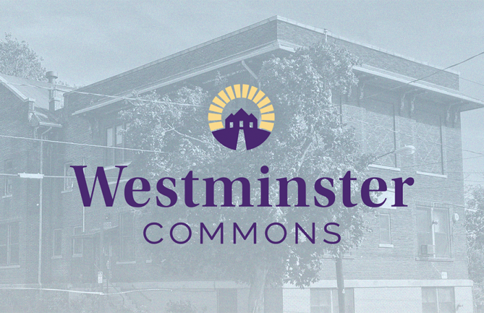 the senior housing logo is depicted in this image: the westminster commons logo is placed over an image of the original westminster settlement house