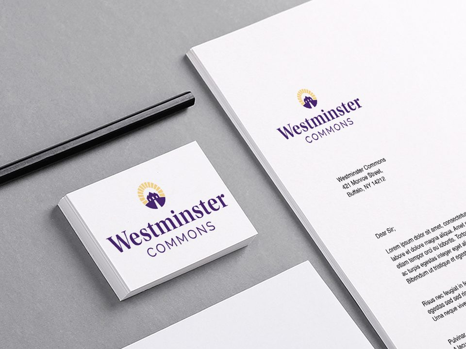 the senior housing logo is showed on this mockup image of a business card and letterhead
