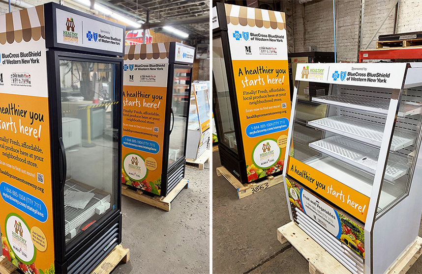 branded coolers with custom vinyl wraps for BlueCross BlueShield and Cornell Cooperative's initiative for healthy living in the City of Buffalo.