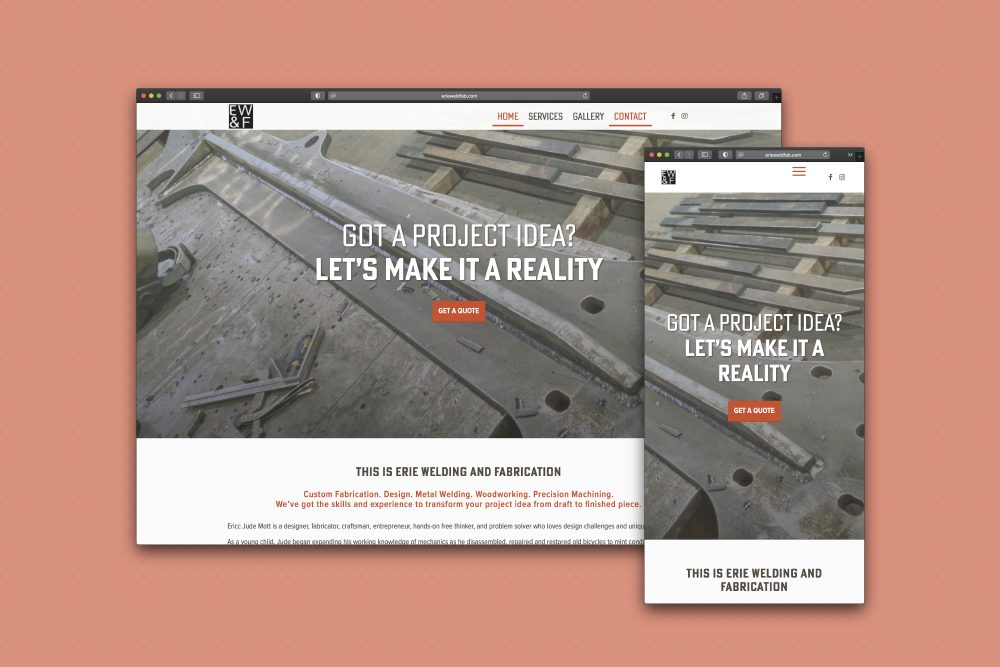 Mobile responsive website design helps promote the metal and fabrication works